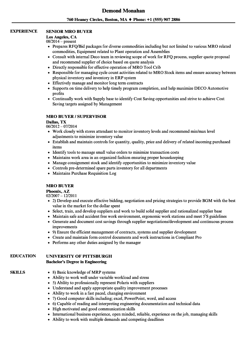 mro buyer resume samples