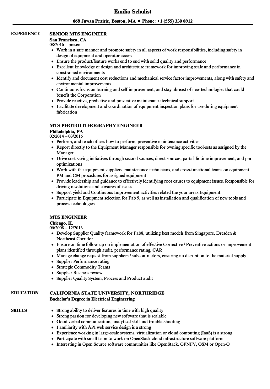 download mts engineer resume sample as image file
