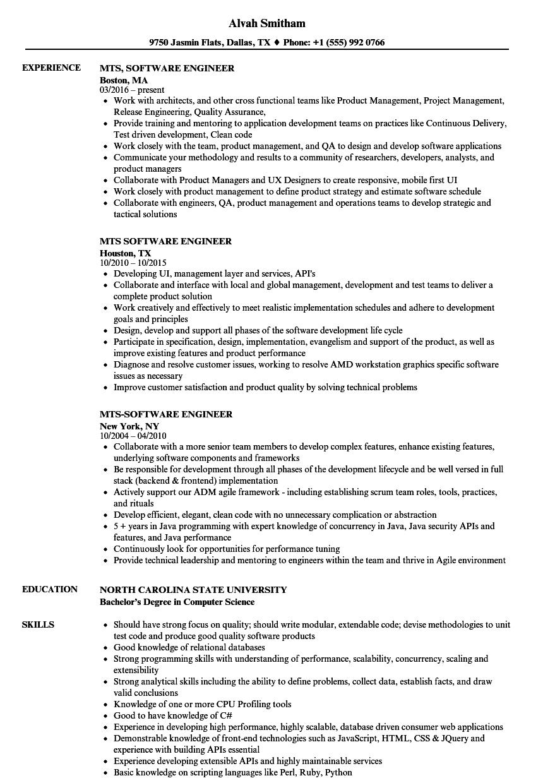 mts software engineer resume samples