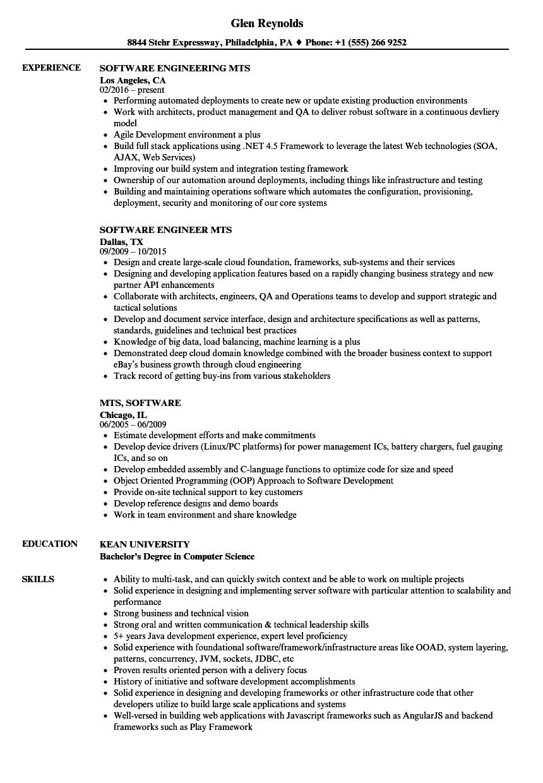 mts  software resume samples