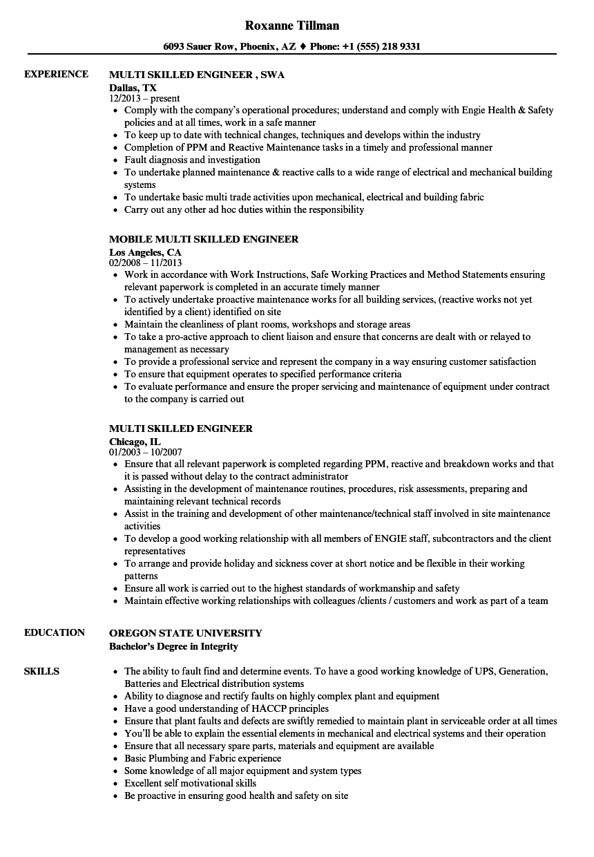 Download Multi Skilled Engineer Resume Sample As Image File