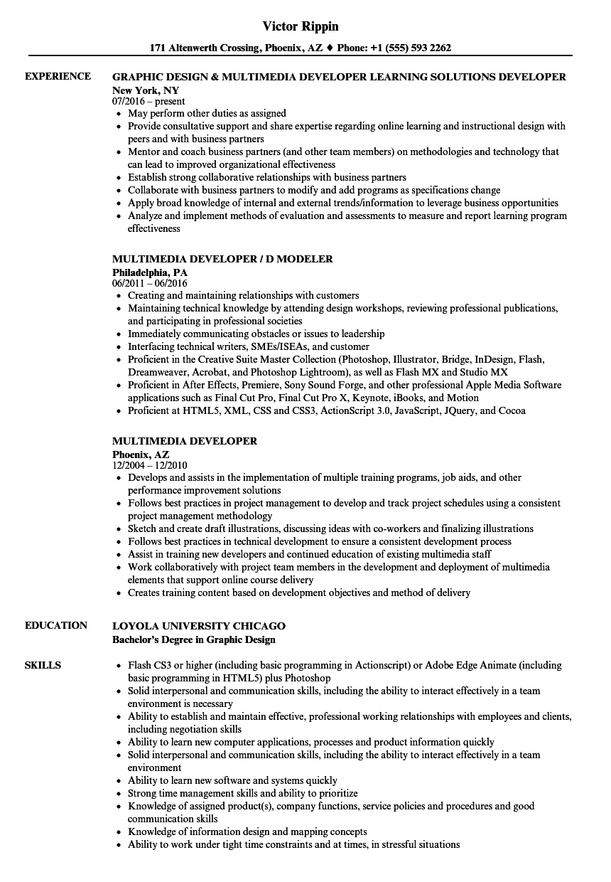 download multimedia developer resume sample as image file - Multimedia Resume Examples