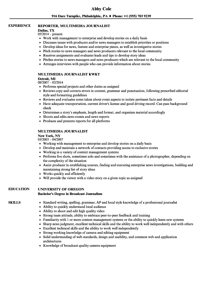 Multimedia Journalist Resume Samples Velvet Jobs