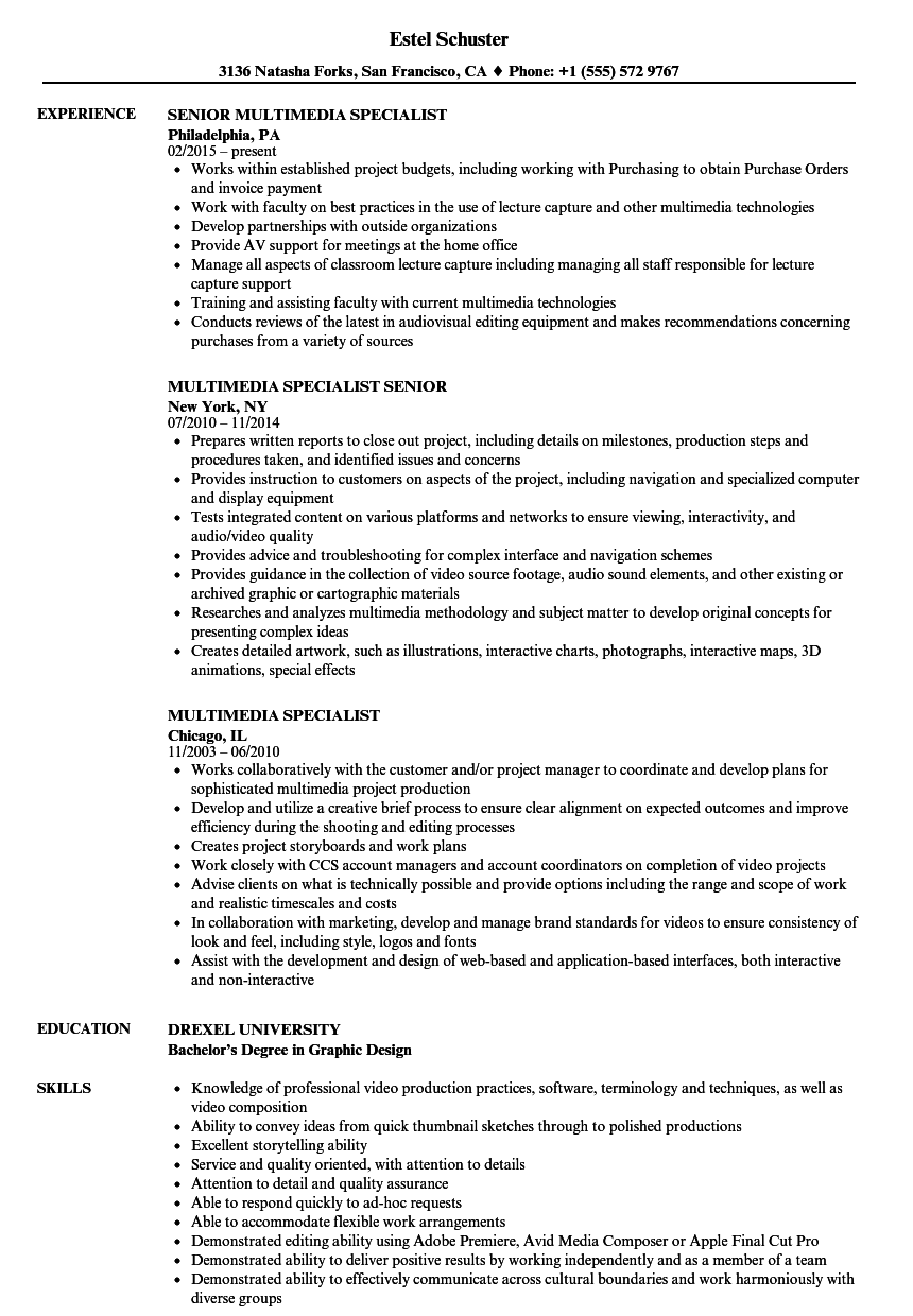 Multimedia Specialist Resume Samples | Velvet Jobs