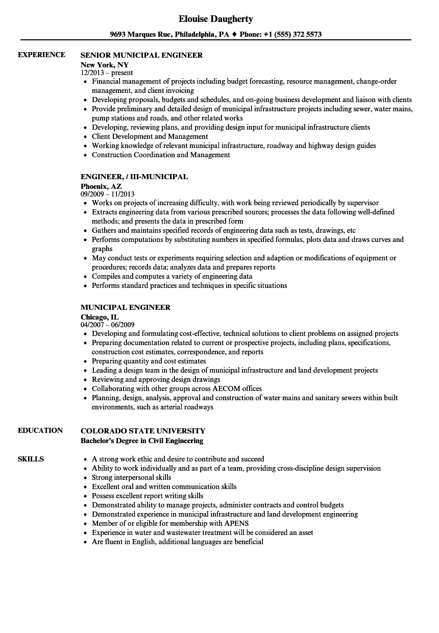 municipal engineer resume samples