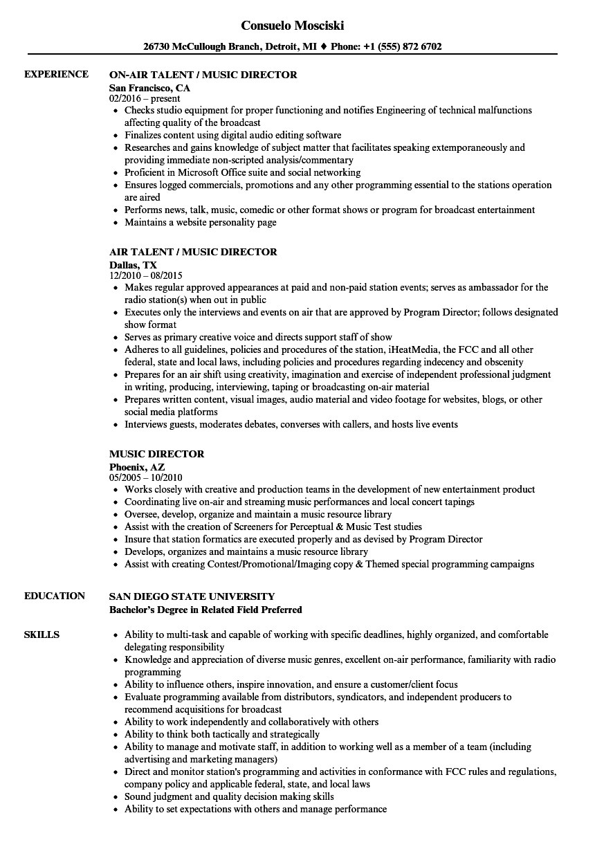 music director resume samples velvet jobs