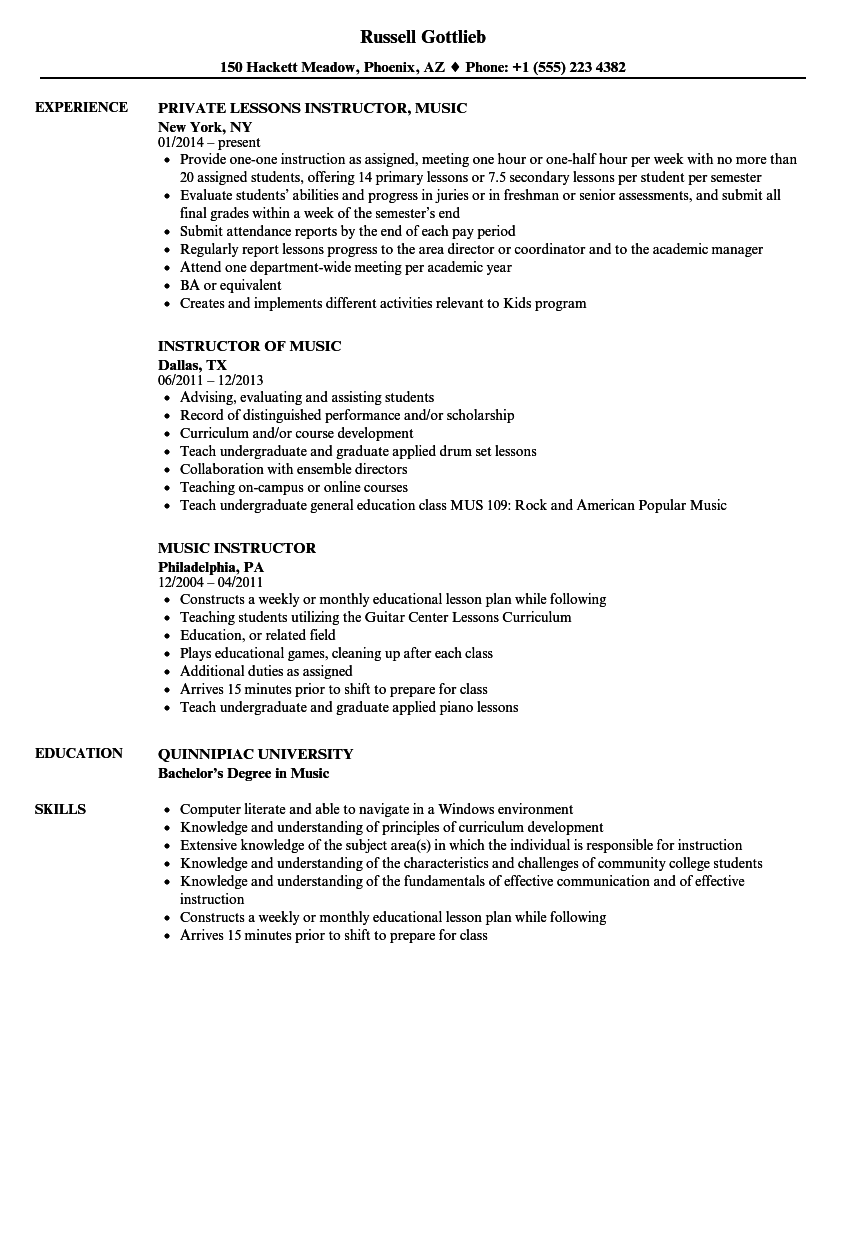 music instructor resume samples