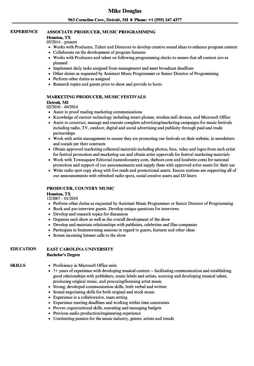 Download Music Producer Resume Sample As Image File