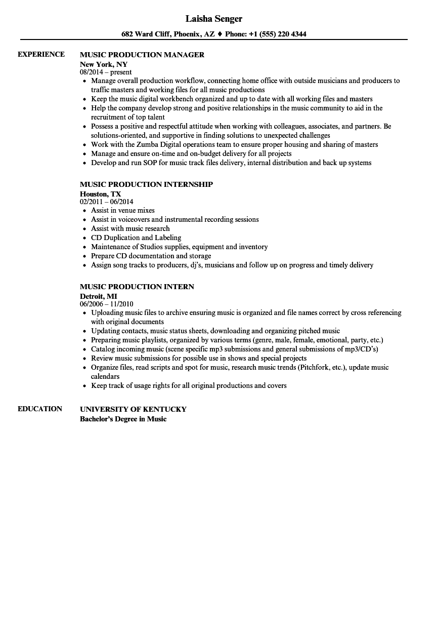 Music Production Resume Samples Velvet Jobs - Tv internship resume examples