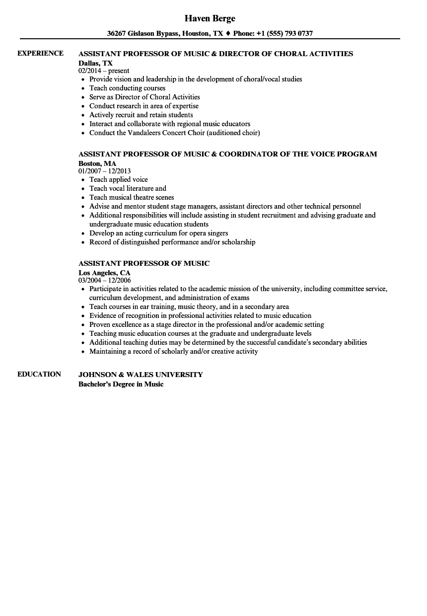 resume format assistant professor