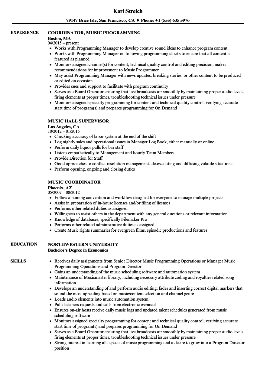 Music Resume Samples Velvet Jobs