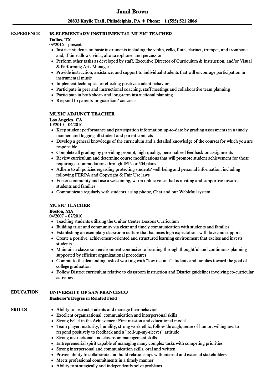 Music Teacher Resume Samples | Velvet Jobs