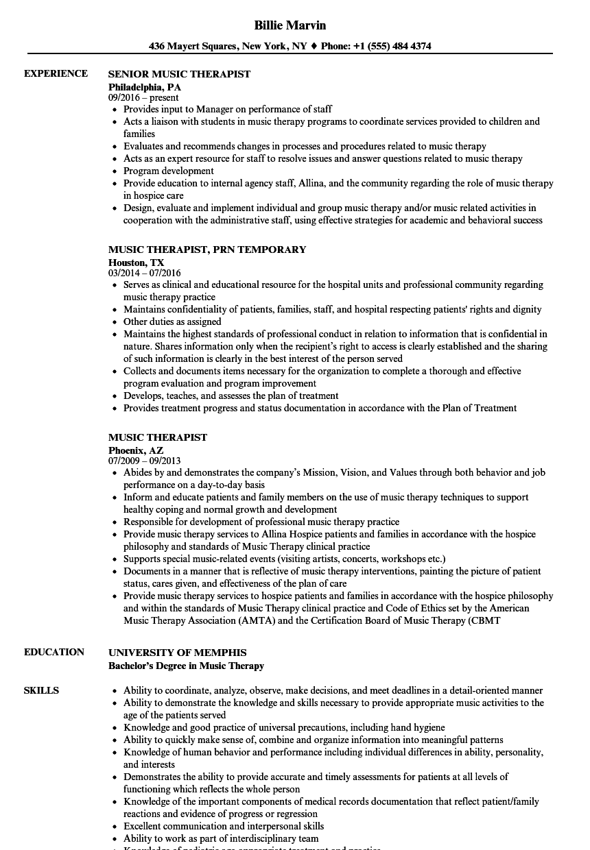 music therapist resume samples velvet jobs
