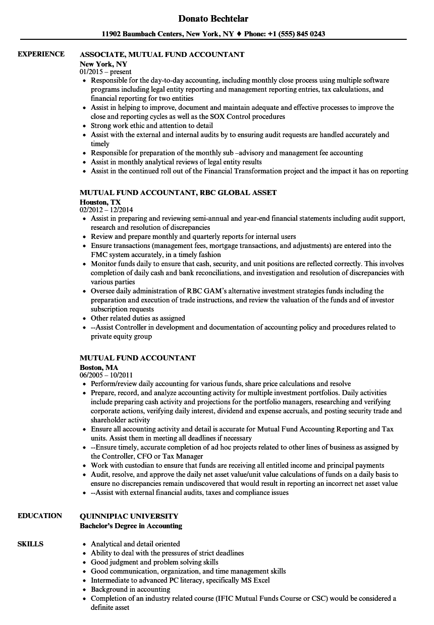 Mutual Fund Accountant Resume Samples | Velvet Jobs