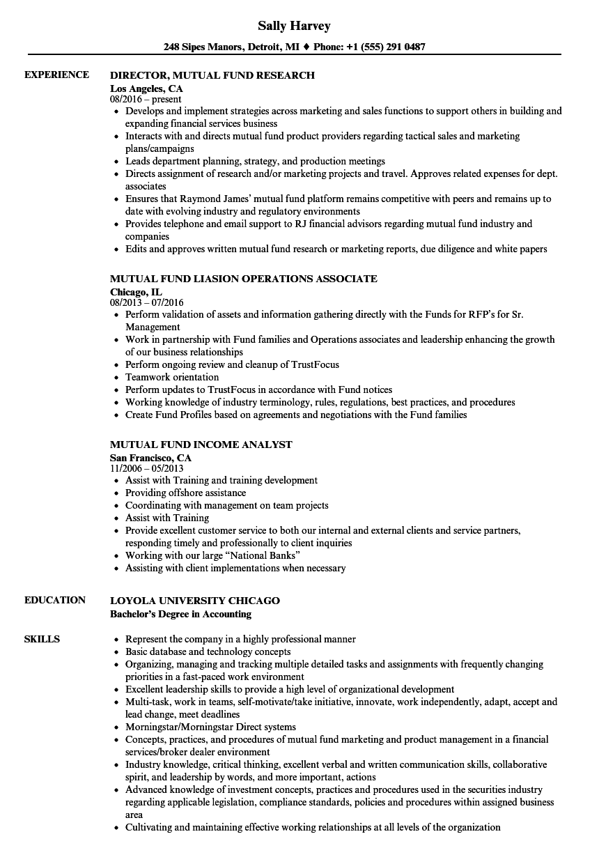 Mutual Fund Resume Samples | Velvet Jobs