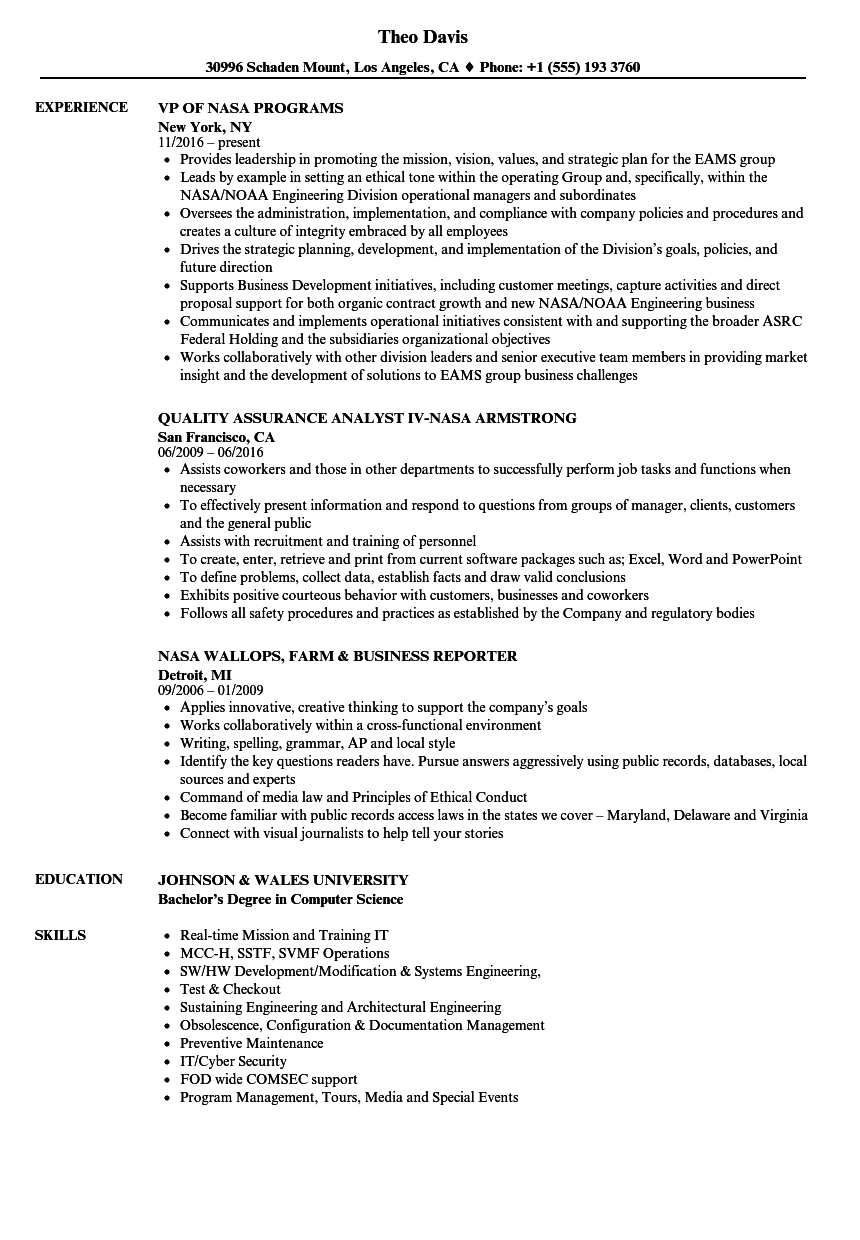nasa resume samples