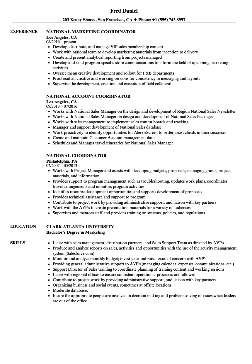 National Coordinator Resume Samples Velvet Jobs