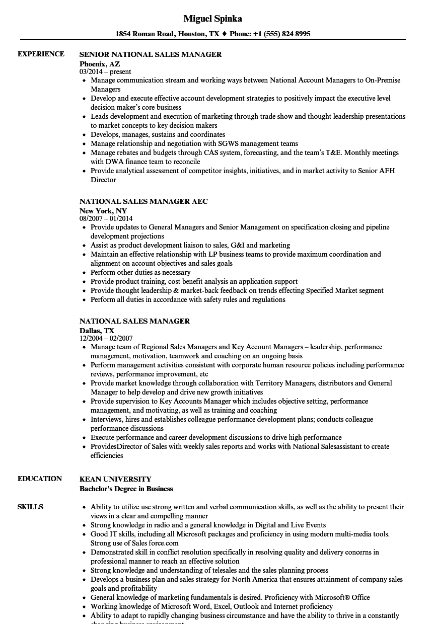 national sales manager resume samples velvet jobs