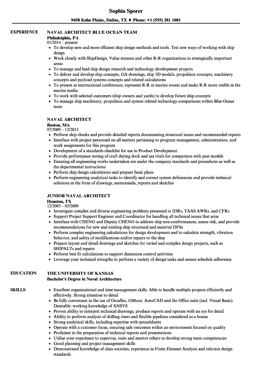 naval architect resume samples