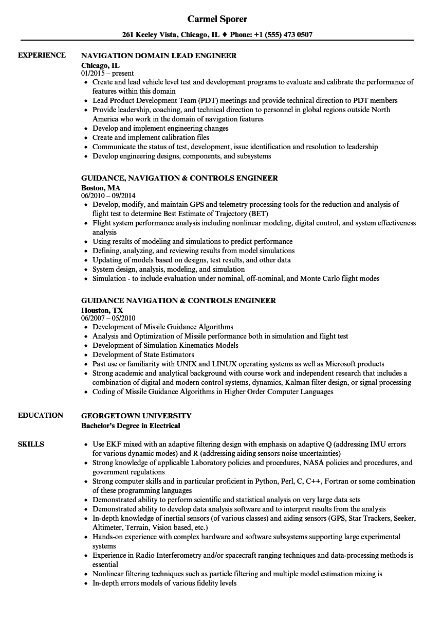navigation engineer resume samples
