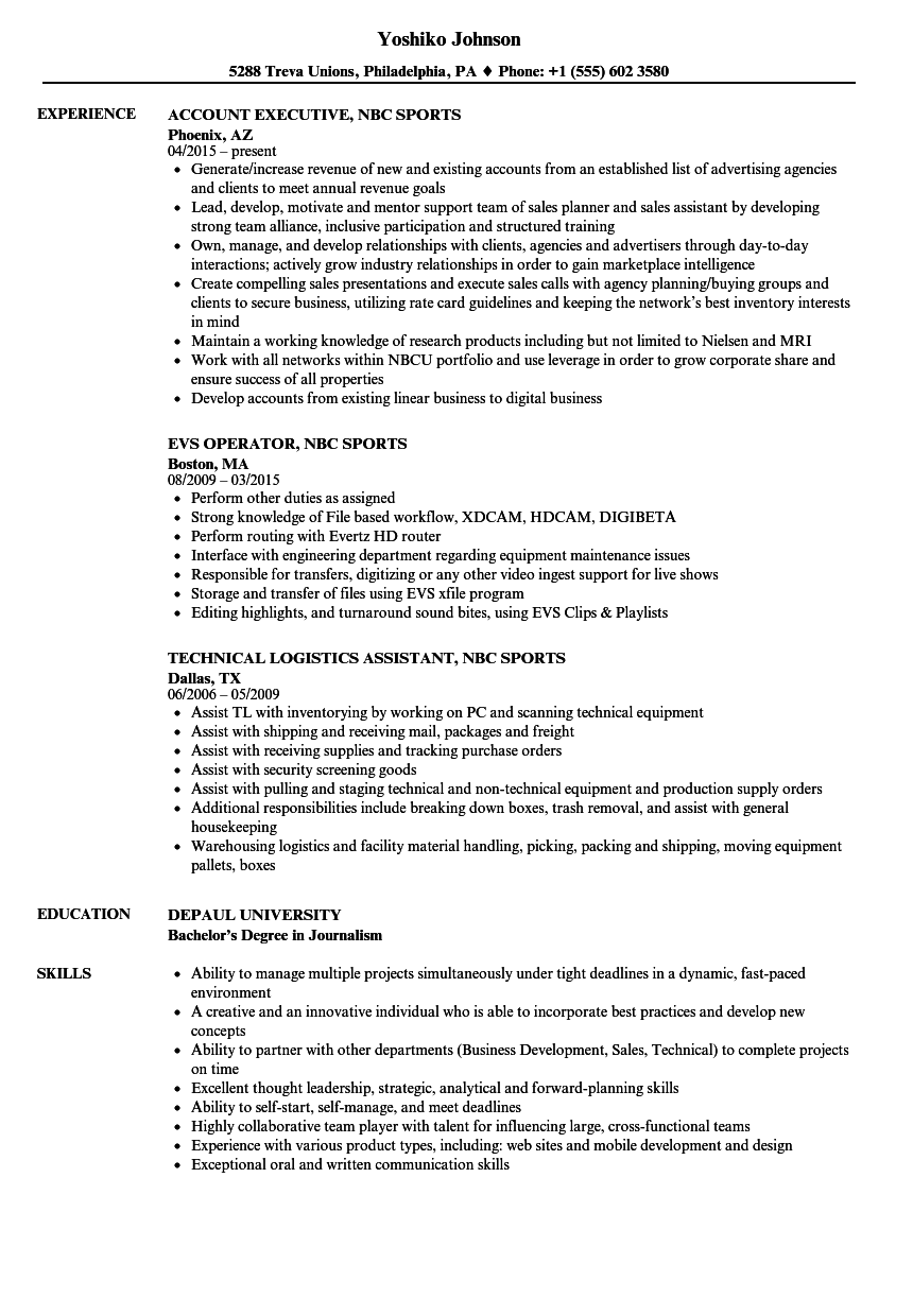 NBC Sports Resume Samples | Velvet Jobs