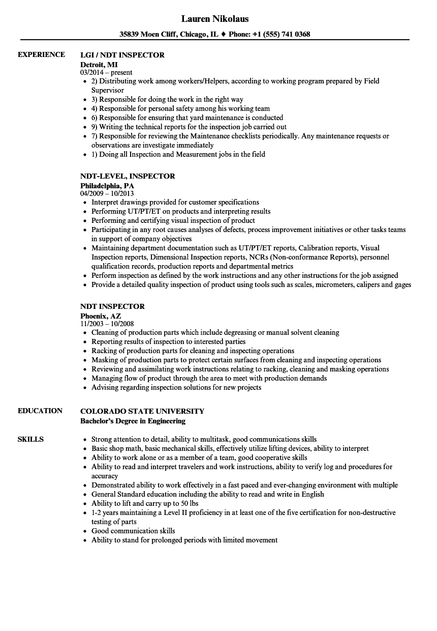 Download NDT Inspector Resume Sample As Image File