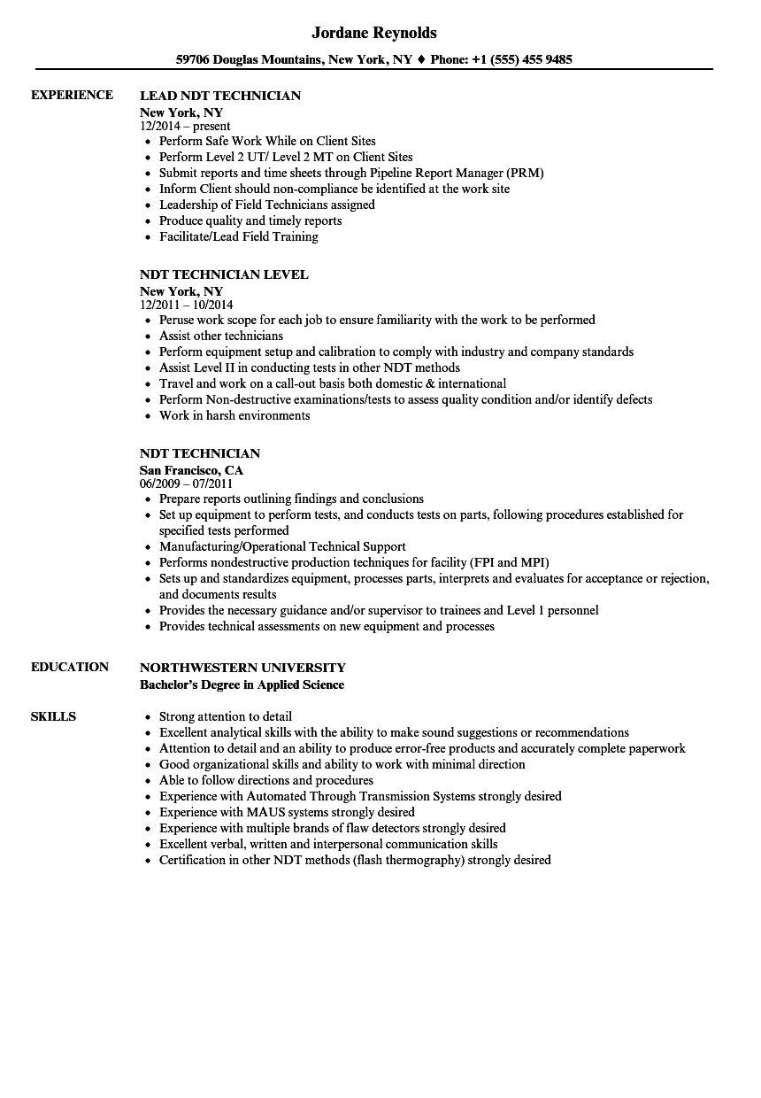 ndt technician resume samples