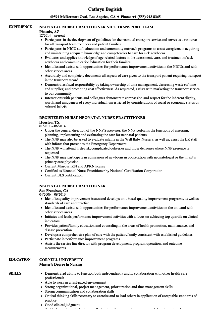 Download Neonatal Nurse Practitioner Resume Sample As Image File
