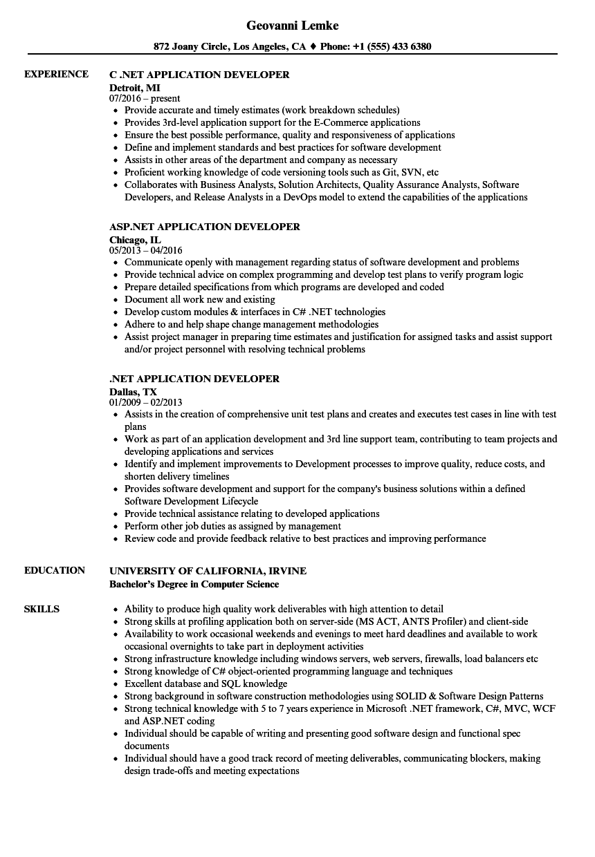 NET Application Developer Resume Samples | Velvet Jobs