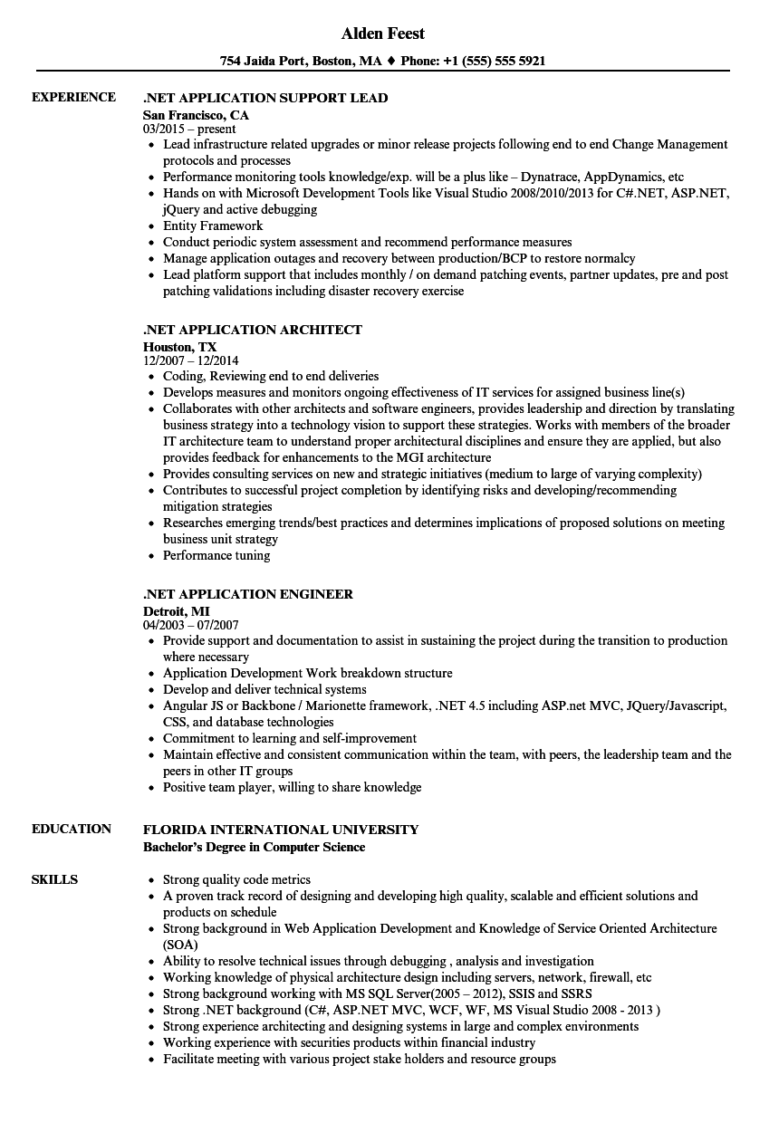 NET Application Resume Samples | Velvet Jobs