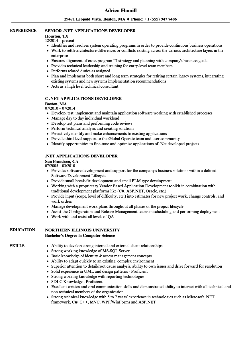 Net Applications Developer Resume Samples Velvet Jobs