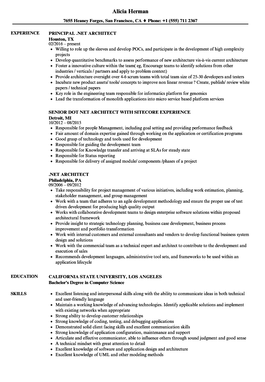 download net architect resume sample as image file - Architect Resume Sample