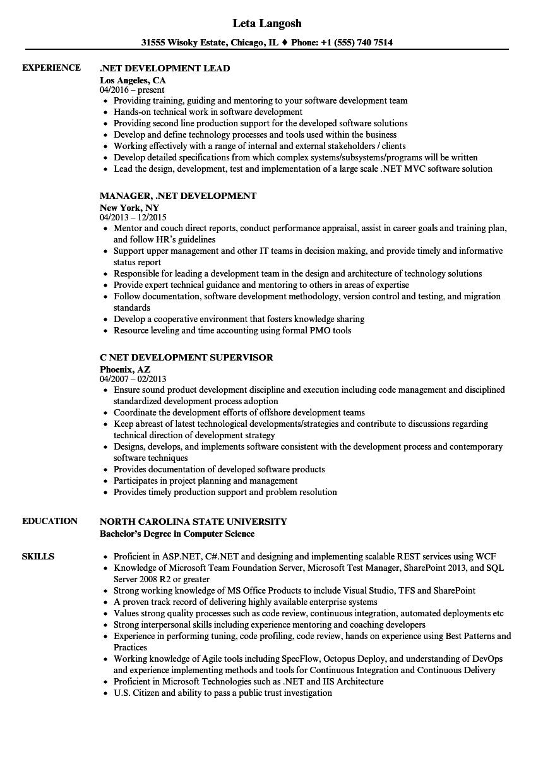 NET Development Resume Samples