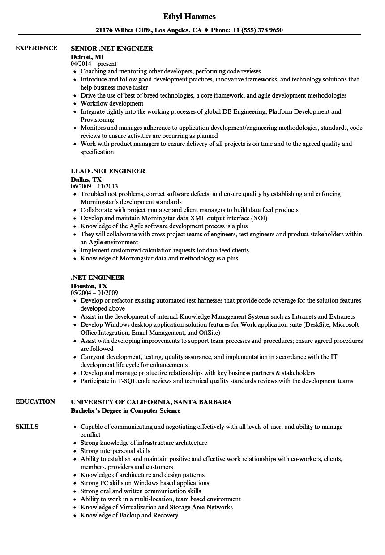 net engineer resume samples