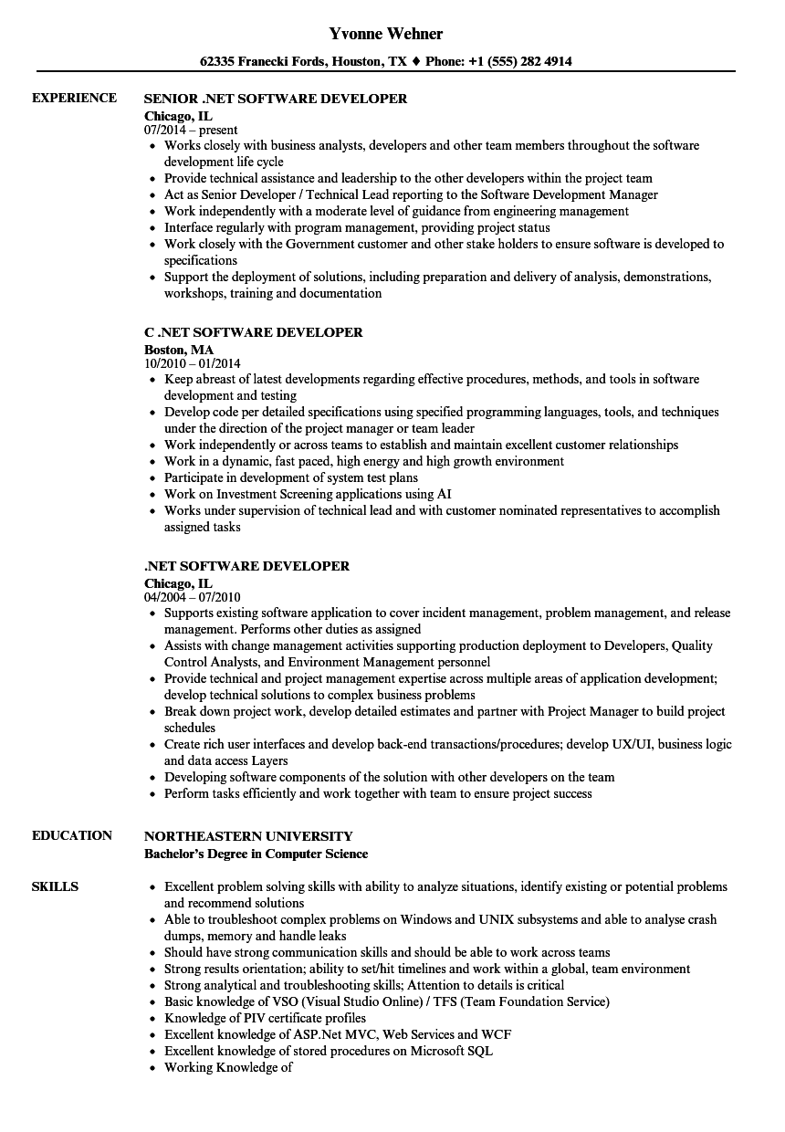 Net Software Developer Resume Samples Velvet Jobs
