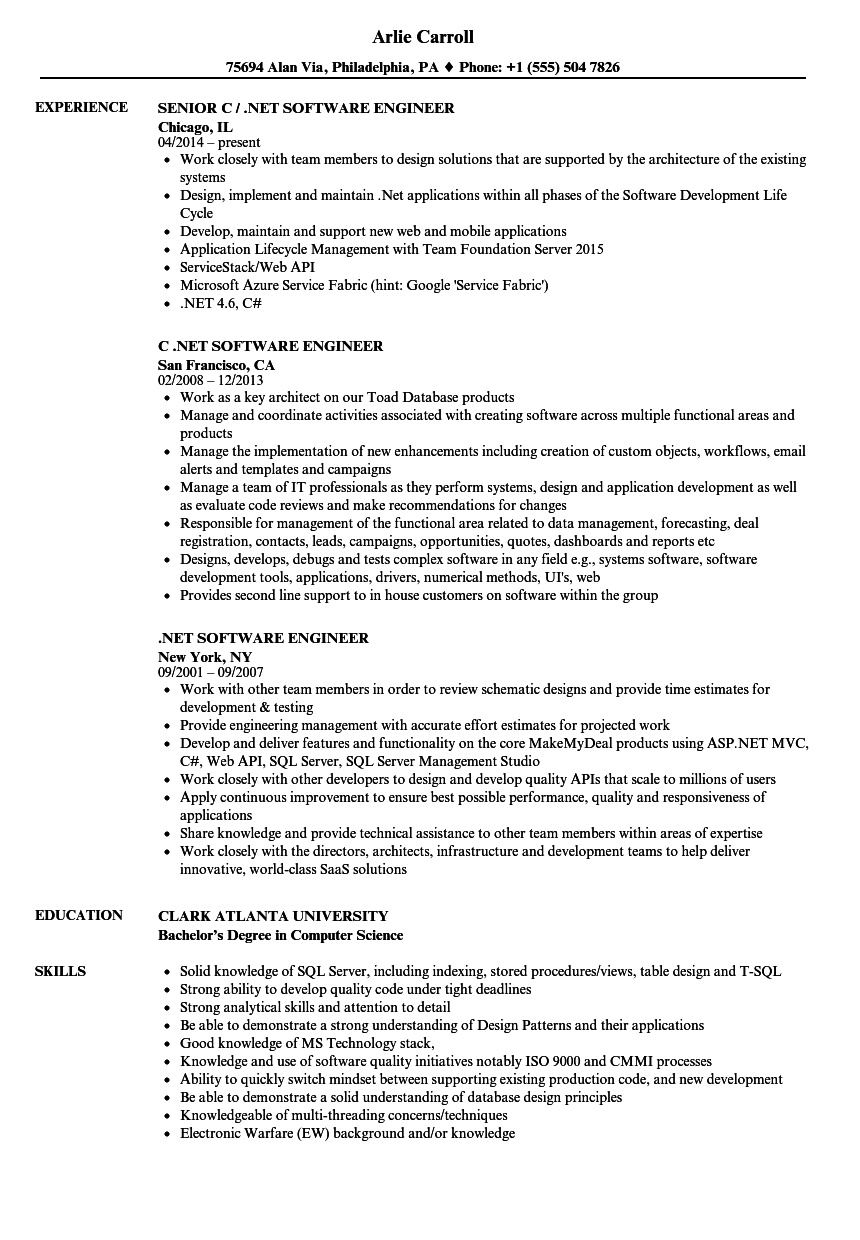 net software engineer resume samples