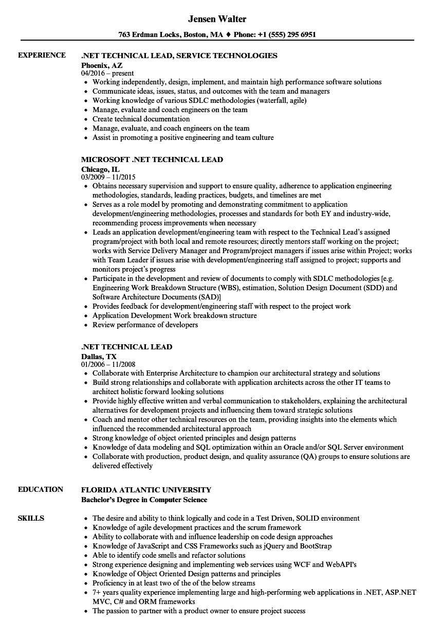 NET Technical Lead Resume Samples   Velvet Jobs