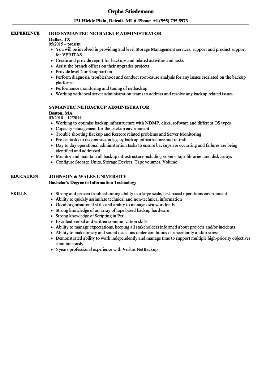 Netbackup Administrator Resume Samples Velvet Jobs