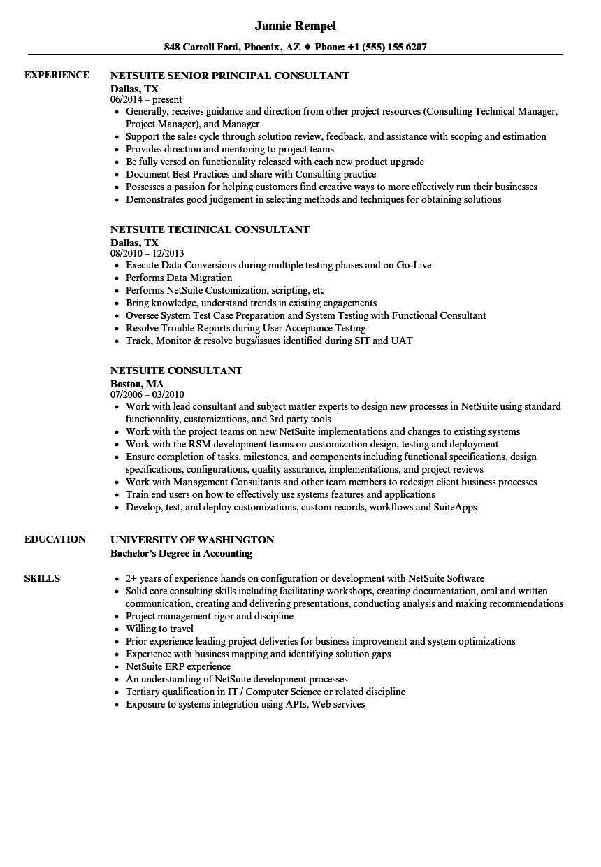 netsuite consultant resume samples