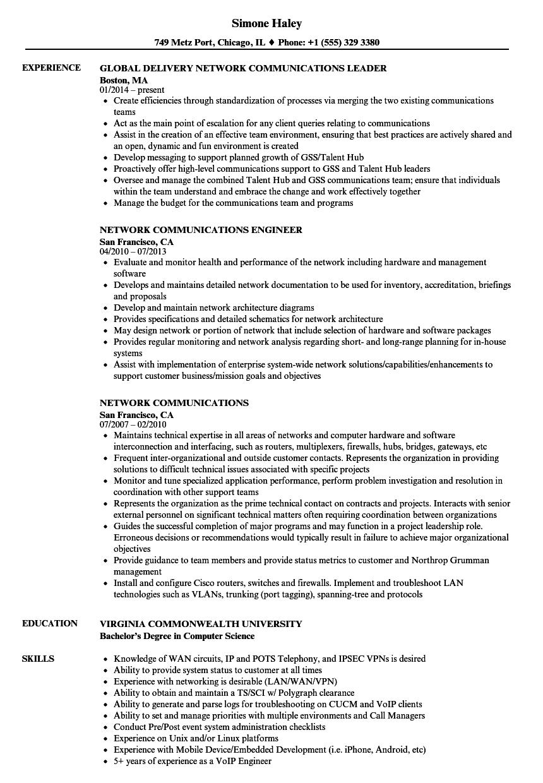 Network Communications Resume Samples   Velvet Jobs