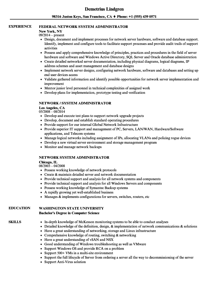Network System Administrator Resume Samples | Velvet Jobs