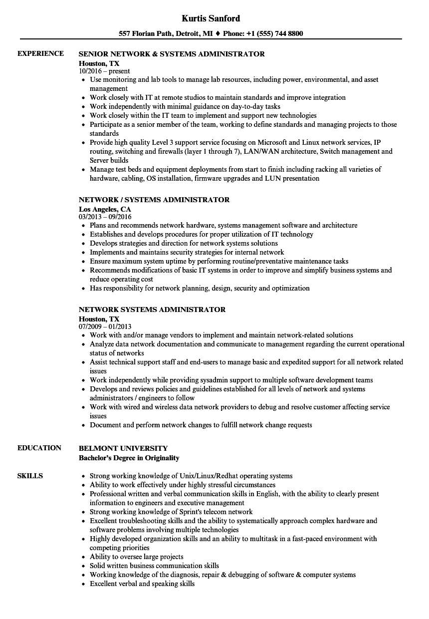 network systems administrator resume samples