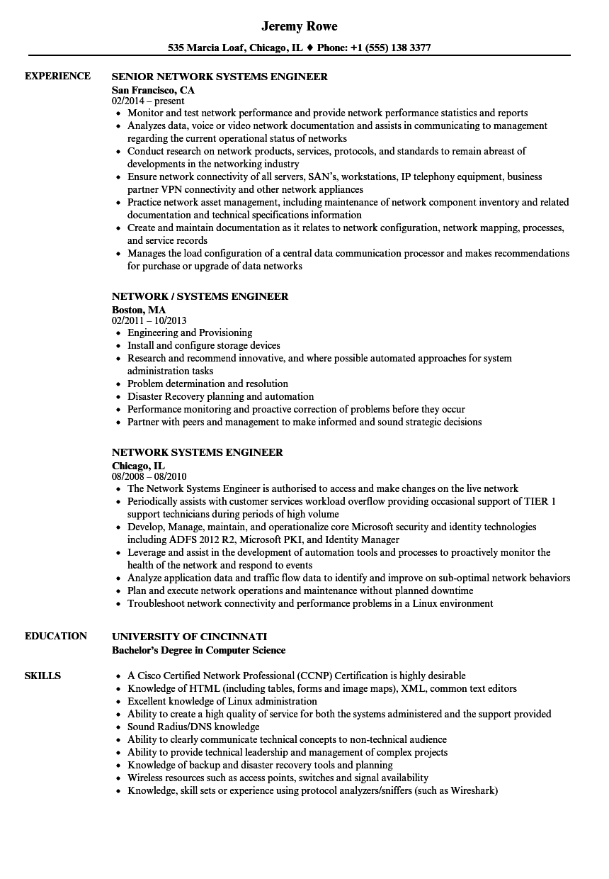 network systems engineer resume samples