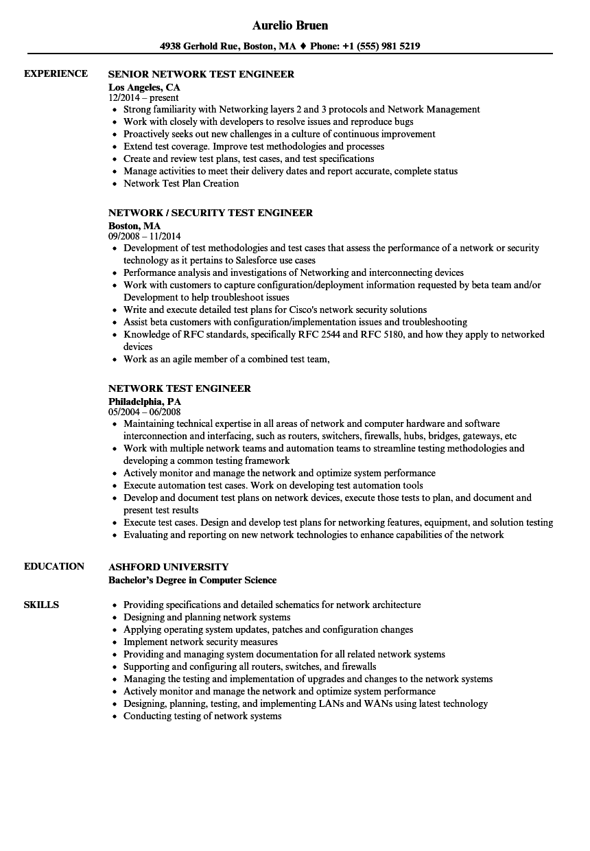 network test engineer resume samples velvet jobs