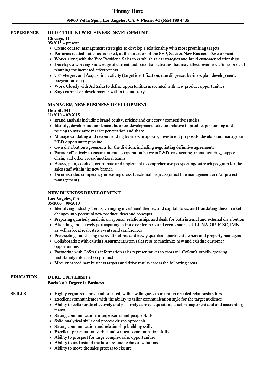 new business development resume samples velvet jobs