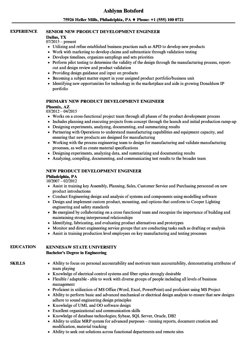 New Product Development Engineer Resume Samples | Velvet Jobs