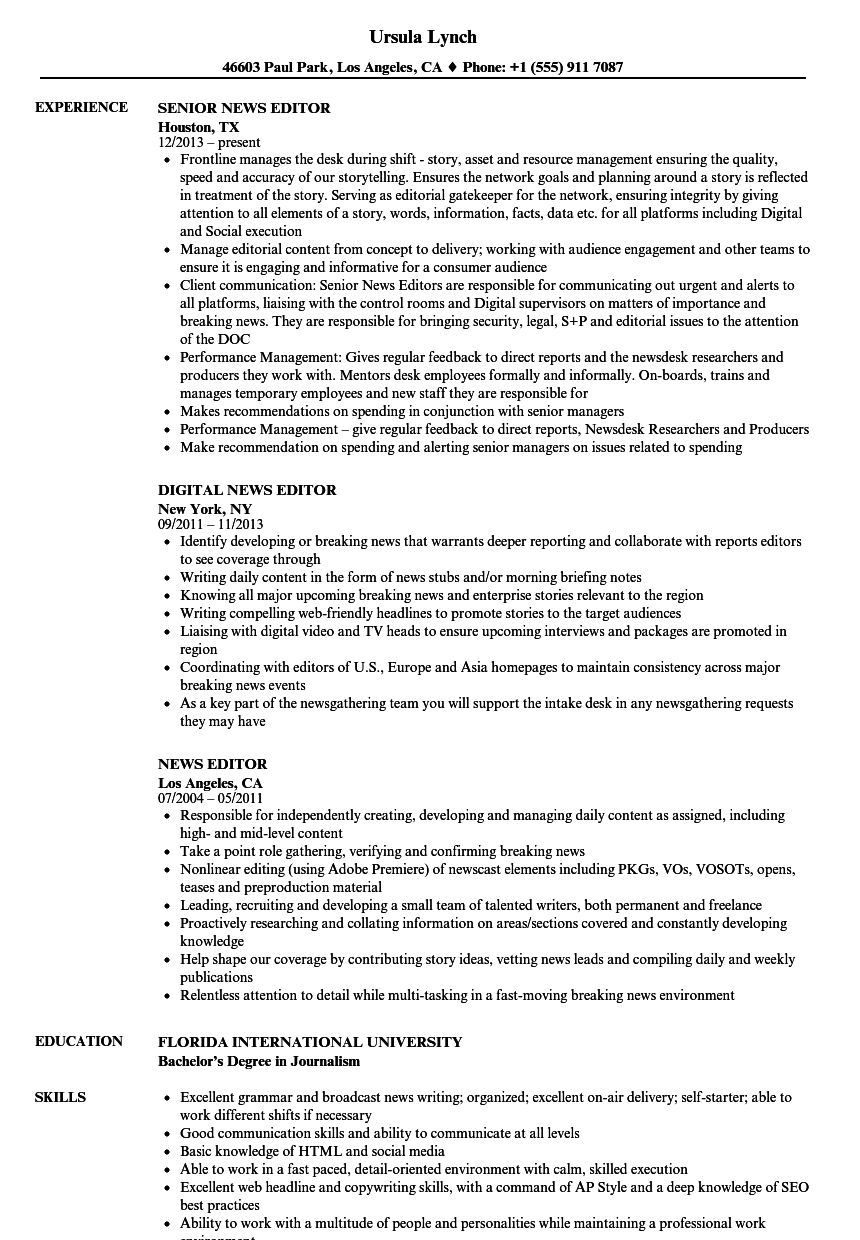 Download News Editor Resume Sample As Image File