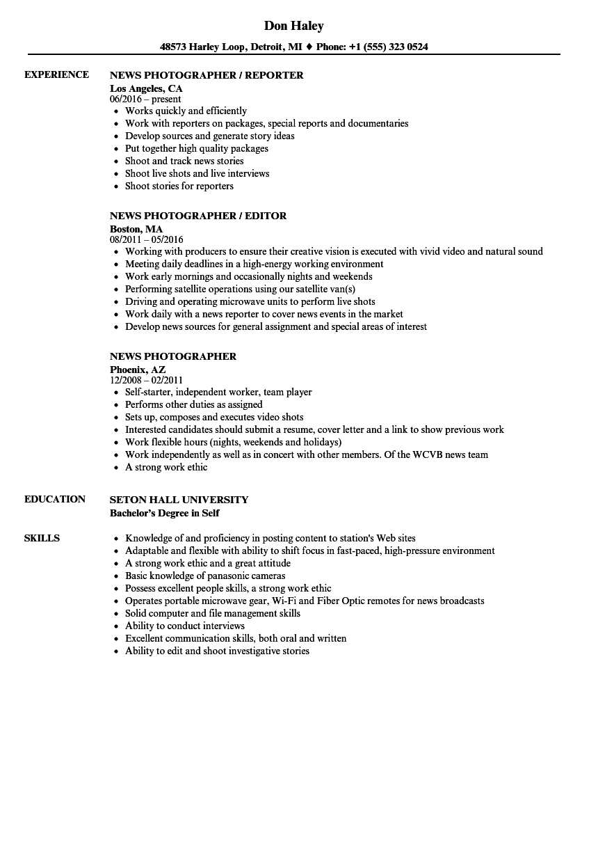 download news photographer resume sample as image file - Photographer Resume