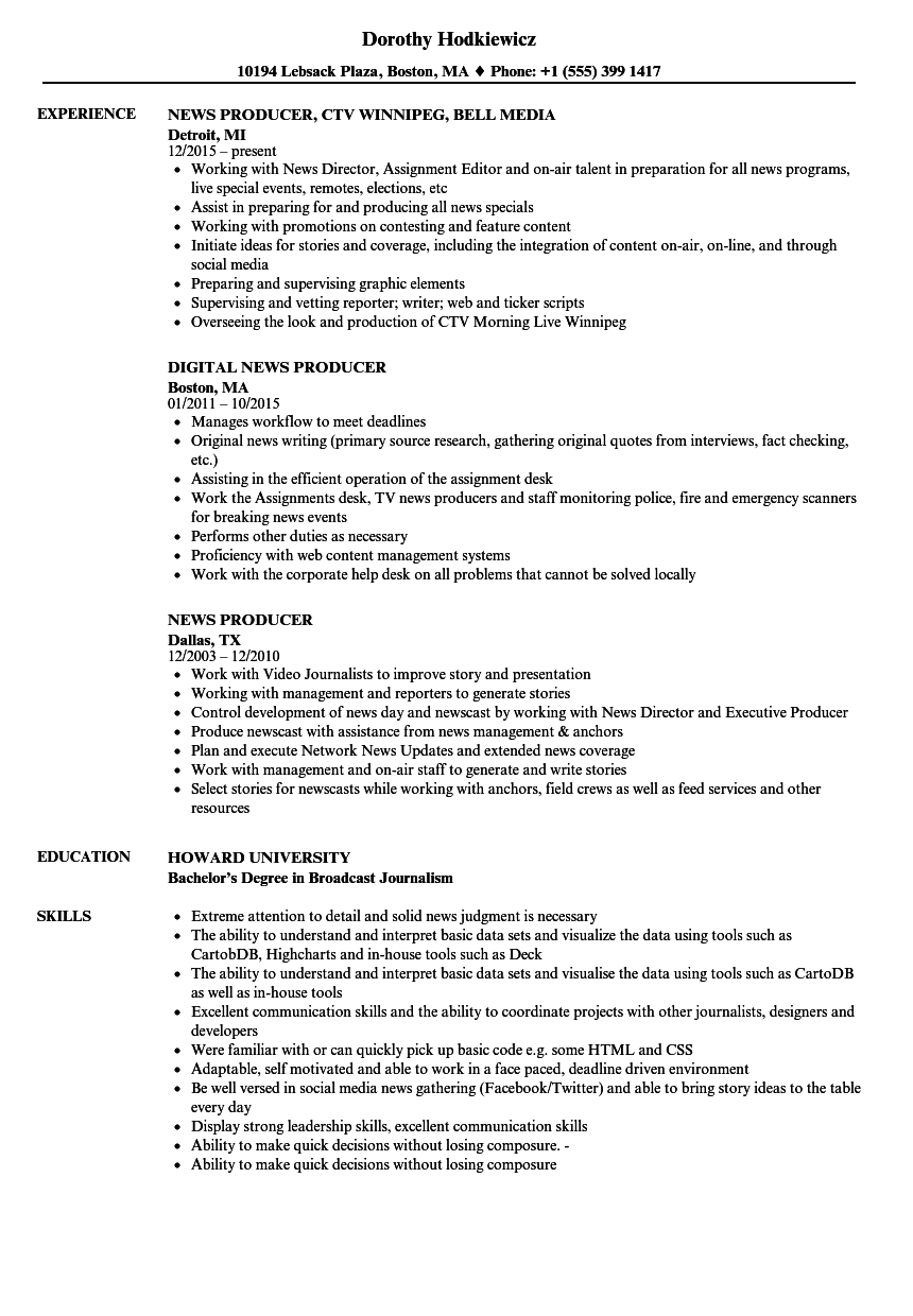 news producer resume samples