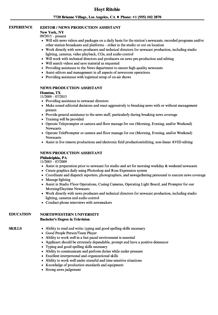 resume Production Assistant Resume news production assistant resume samples velvet jobs download sample as image file